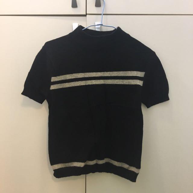 毛衣 背心 針織 冬天 保暖 短袖 上衣 全新 黑色 灰色 條紋 彈性圓領 微高領