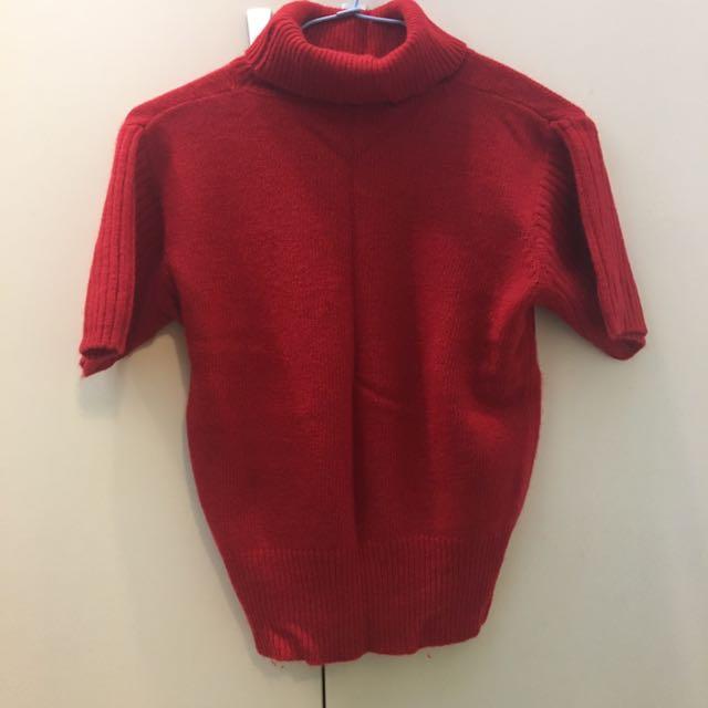 毛衣 背心 針織 冬天 保暖 短袖 上衣 彈性 高領 微高領 紅色 大紅 正紅 全新