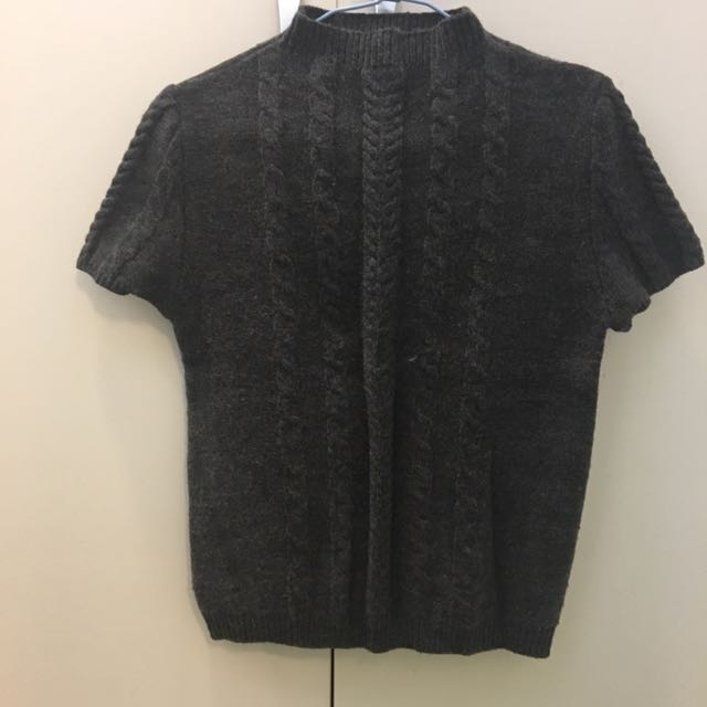 毛衣 背心 針織 冬天 保暖 短袖 上衣 彈性 微高領 圓領 深灰 灰色 鐵灰 麻花 花紋 全新