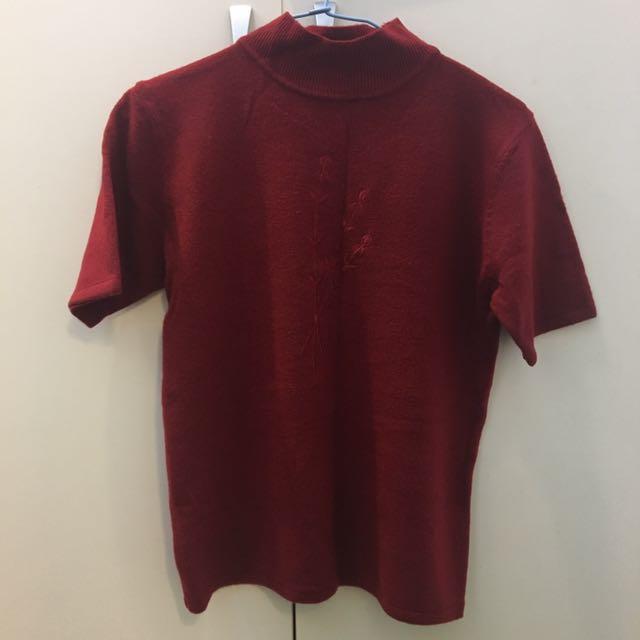 毛衣 背心 針織 冬天 保暖 短袖 上衣 彈性 微高領 圓領 刺繡 花紋 全新 紅色 深紅 暗紅 全紅 大紅