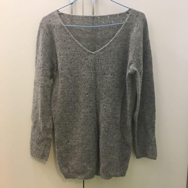 毛衣 背心 針織 冬天 保暖 長袖 上衣 彈性 v領 內搭 洞洞 造型 灰色 淺灰 深灰 鐵灰