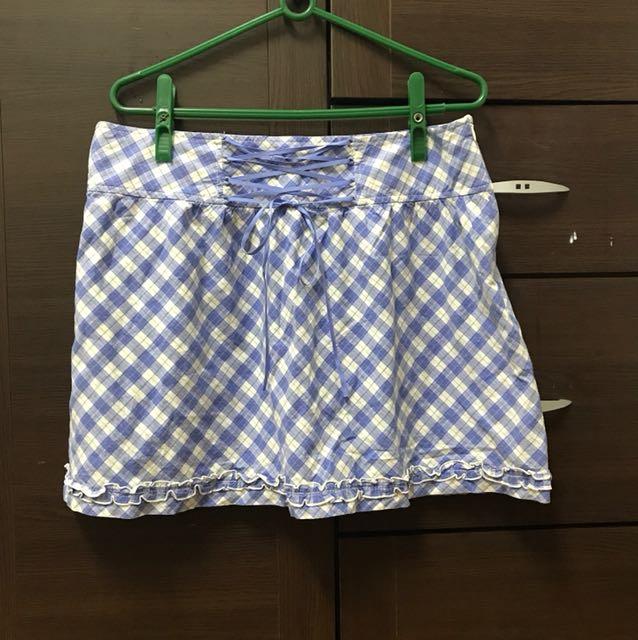 出清 專櫃 Ma Tsu Mi 藍色格子短裙 L
