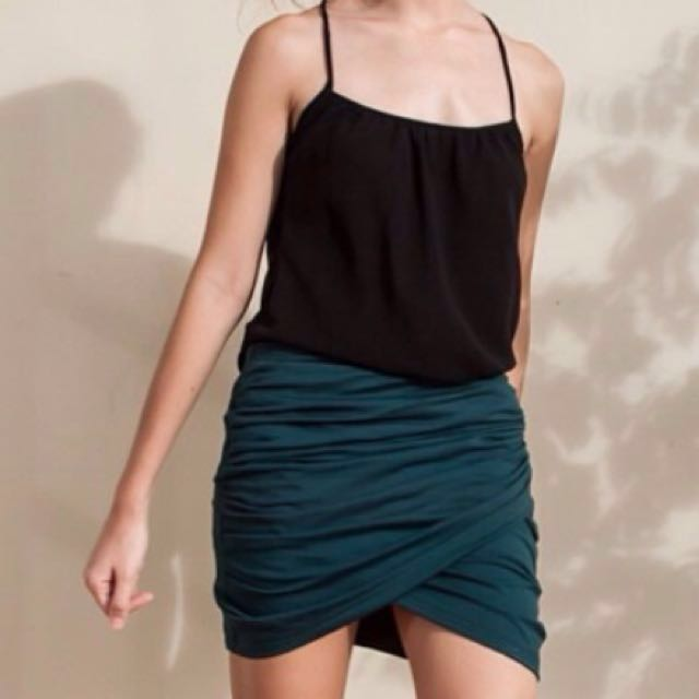 🌟 Beetroot Antique Green Wrap Front Mini Skirt