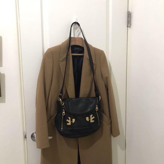 國際專櫃名牌精品 Marc jacobs 和平鴿 黑色真皮 斜背包 王菲著用