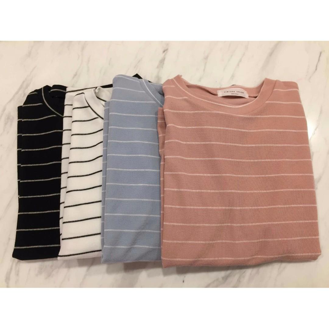 🔵【二手】韓版條紋針織短袖上衣 短T