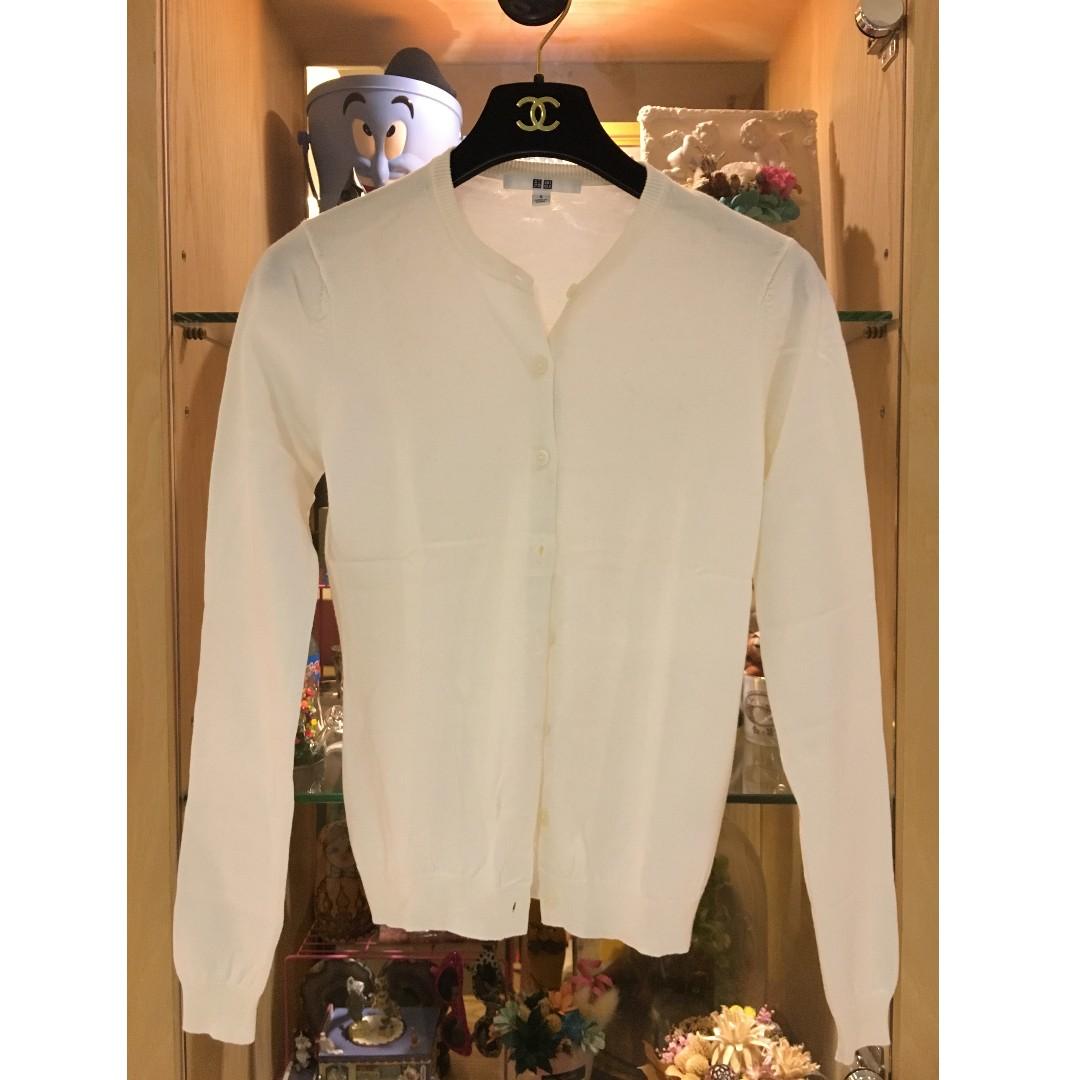 二手 UNIQLO 白色針織小外套
