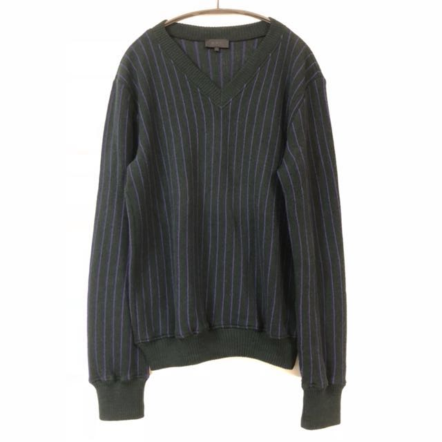 A.P.C. 長袖毛衣 直條紋 v領  法國製 12月