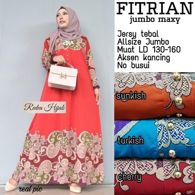 Baju Wanita Gamis Fitrian Jumbo Maxy Muslim Unik Cantik Lucu Trendi