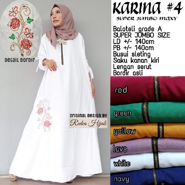 Baju Wanita Gamis Karina 4 Jumbo Muslim Modern Trendi Unik Modis