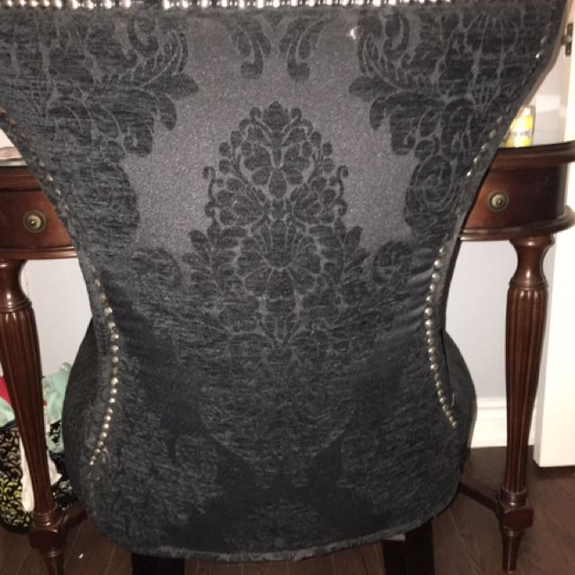 Black Chair With Felt Damask Detailing