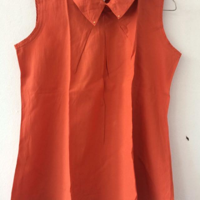 Blouse Katun (orange batu bata)