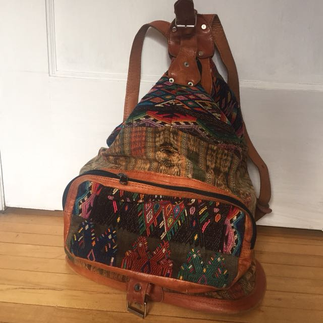Boho backpack knit rucksack (from Guatemala)