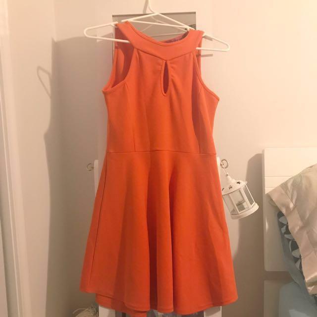 Burnt Orange Cut Out Boohoo Dress