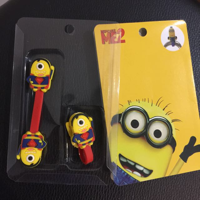 Cartoon Minion Superman Cables Ties Wire Clips