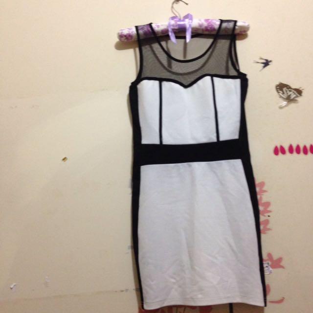 Dress Black N White Variasi Tile
