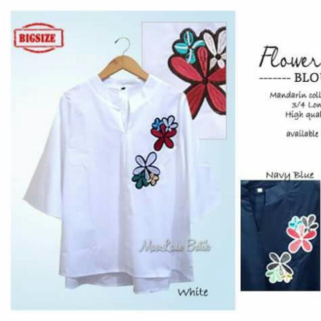 Flower Decor Blouse (white)