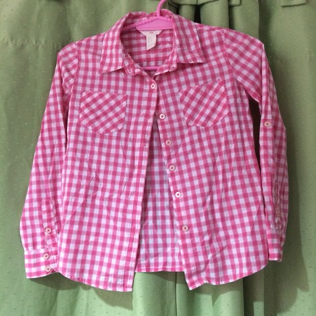 Forever 21 Girls pink and white checkered top