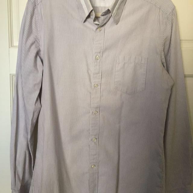 G2000 防皺 襯衫 灰條紋 Slim Fit Uniqlo Zara