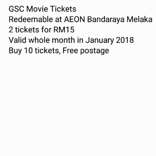 GSC movie tickets @ Melaka