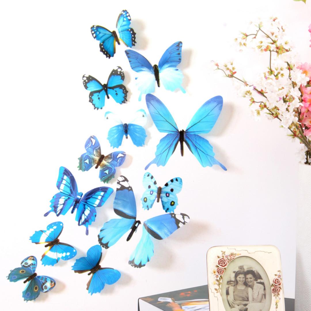 H023 3D Wall Sticker Butterfly PVC - Stiker dinding