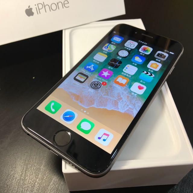 太空灰iPhone 6 64 新電池 背面有裝殼的使用痕跡 盒裝附充電頭加線(不換機)高雄鳳山可面交04309