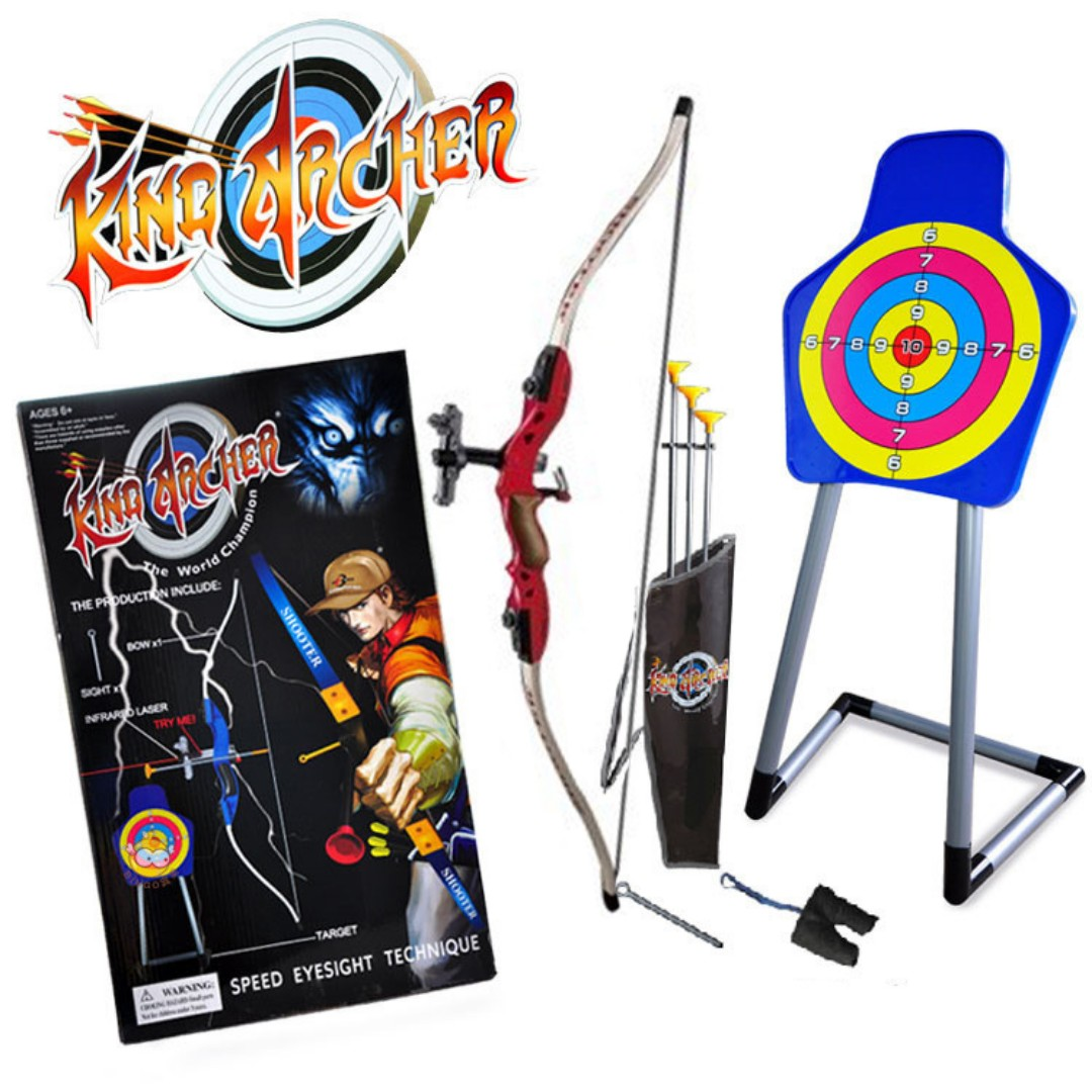 Kids Archery Bow Infrared Toxophily Arrow + Target Stand Sport Set Toy