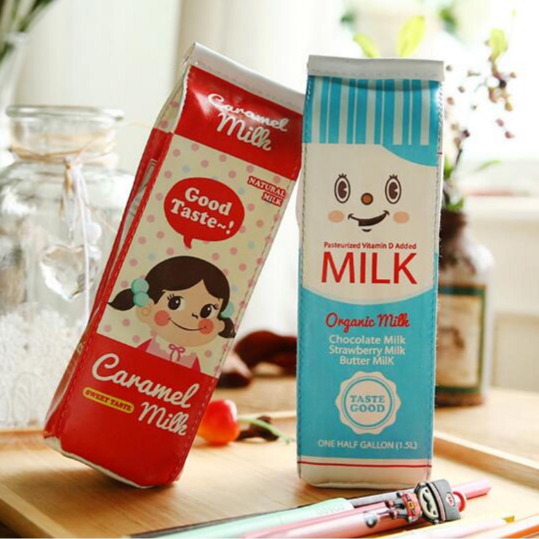 Kotak Pensil Bentuk Kotak Susu / milk tempat alat tulis