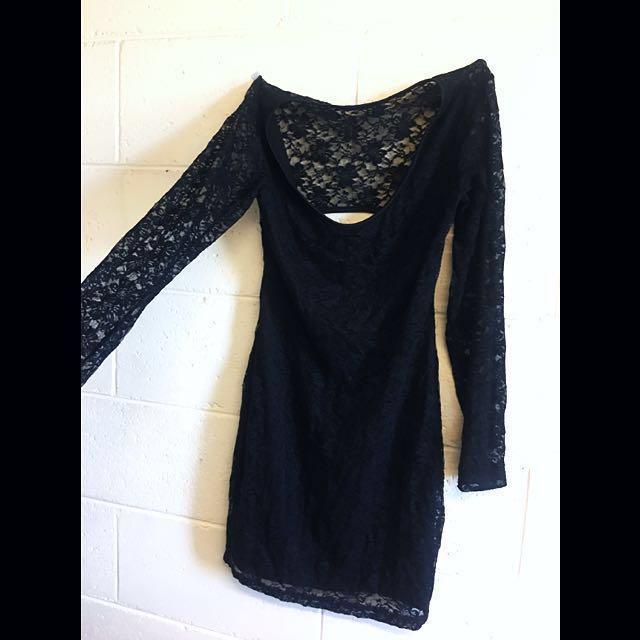Lace black sexy cut out back dress size 8