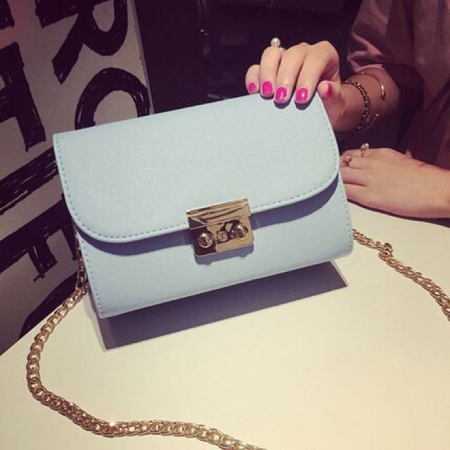 Light Blue Gold Chain Sling Bag