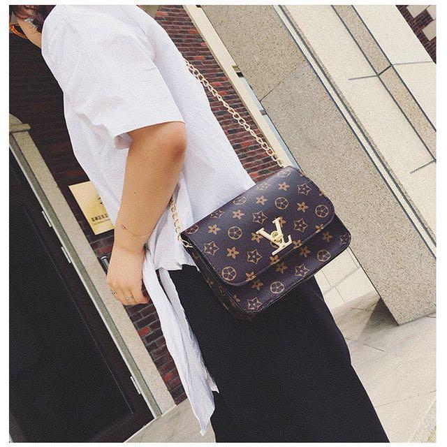 LV Inspired Flower Chain Sling Bag