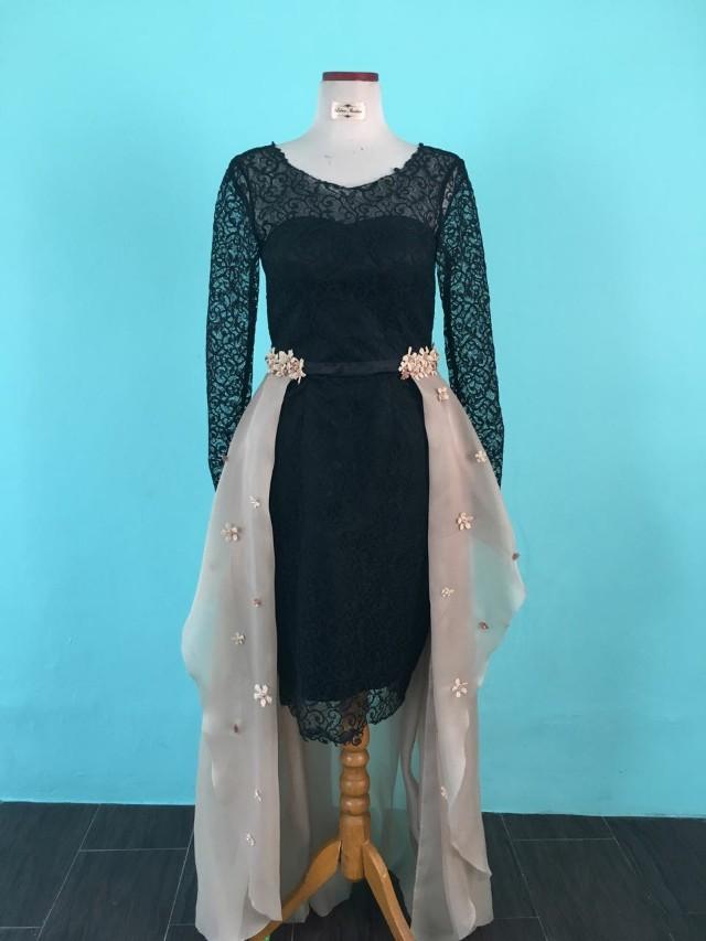 Midi dress black / Dress pesta mewah