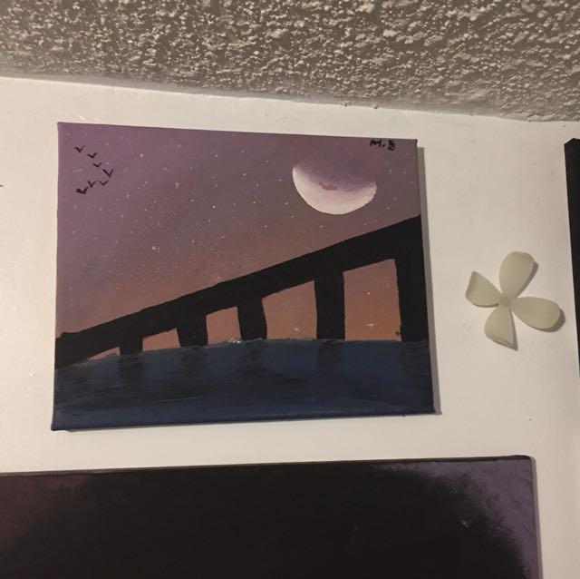 Minimalist bridge sunset painting