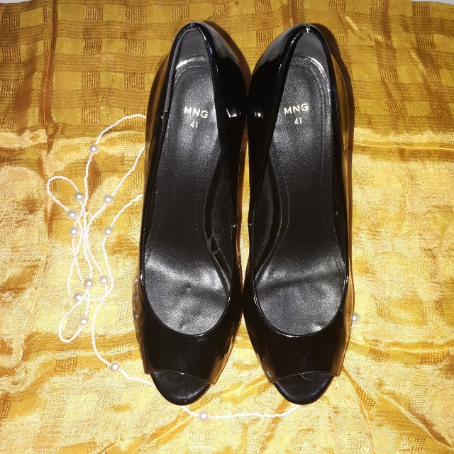 MNG Black Peep Toe Shoes Size 41