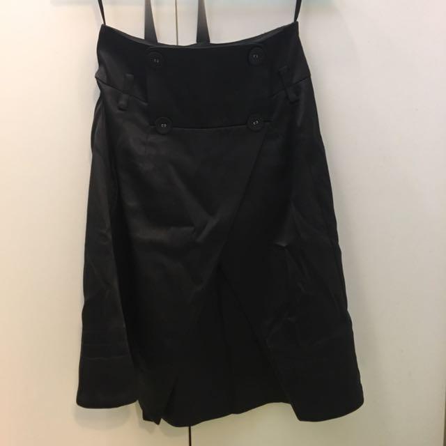 MOMA 黑色 裙子 長裙 高腰 西裝 亮面 滑面 全黑 正品 全新