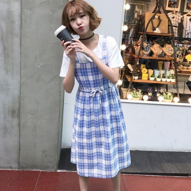 3dd6d3ec41 Mono-coloured Korean Style Designed Checkered Plaid Overall Dress ...