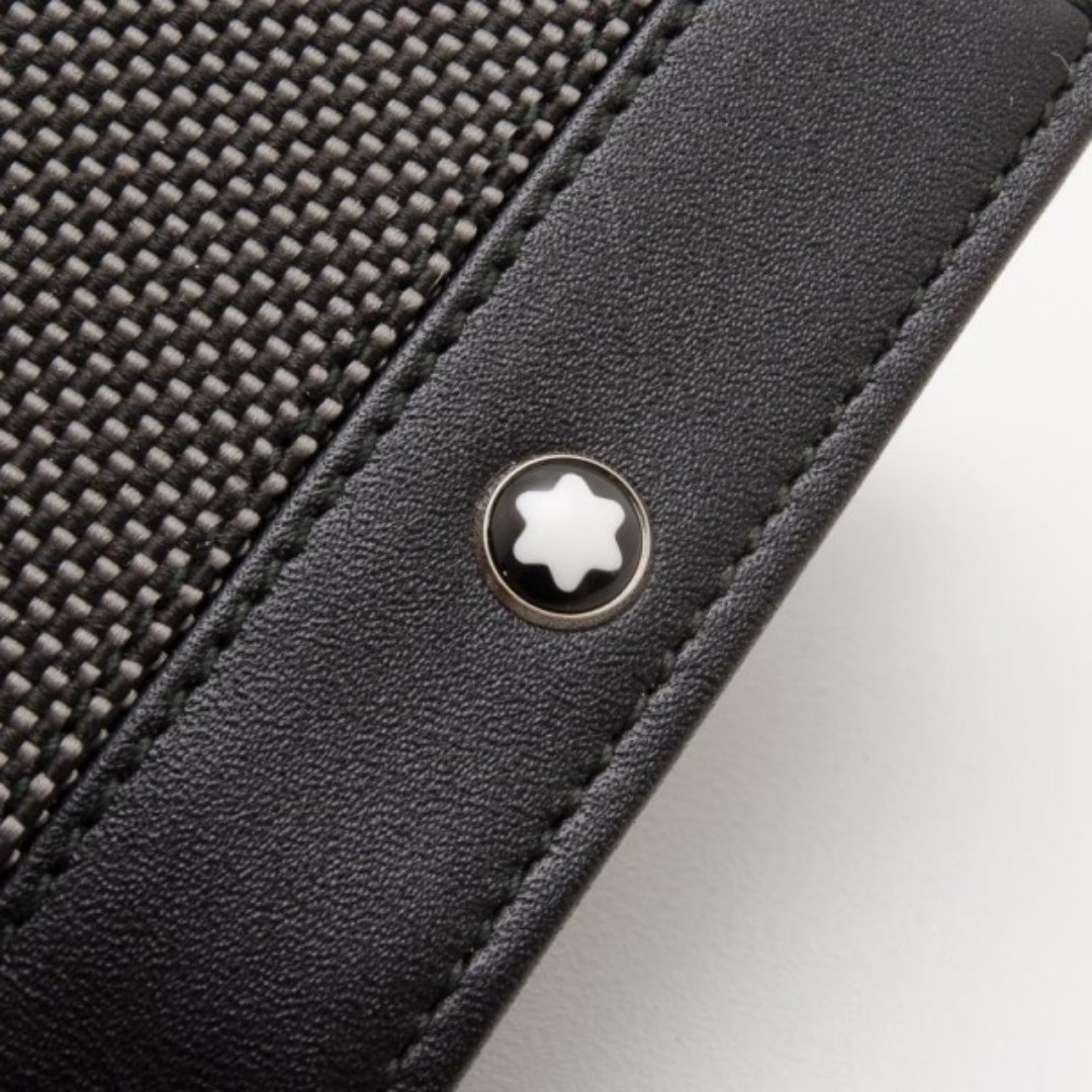 Montblanc Meisterstuck Black Leather and Canvas Business Card Holder ...