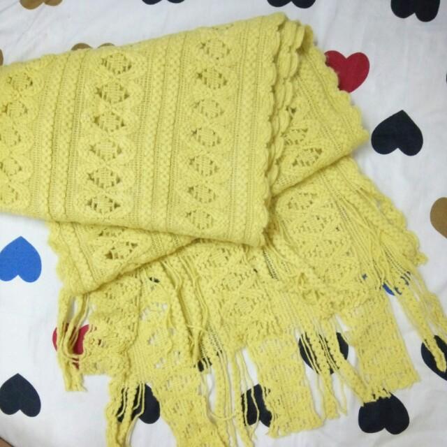 💘九折💘NET全新黃色捲邊織紋圍巾