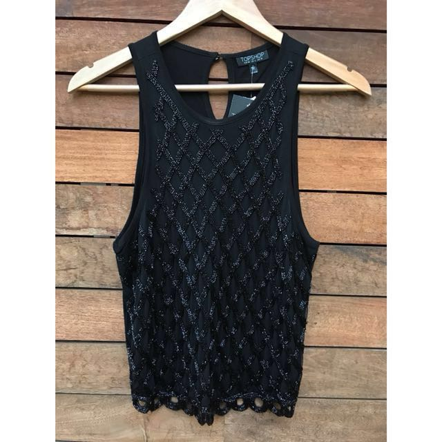 *NEW* Topshop Beaded Top Size 10