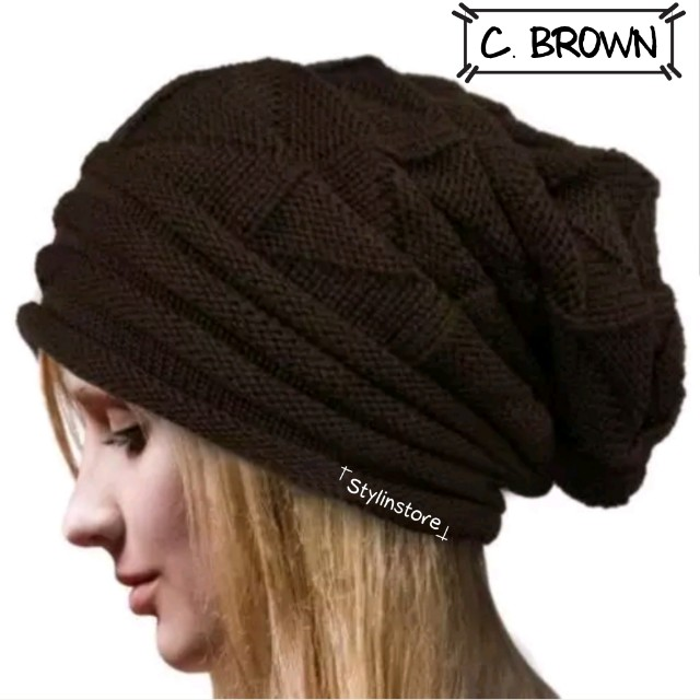 Onhand Brown Slouch Beanie