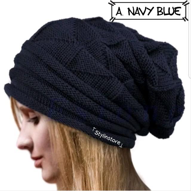 Onhand Navy Blue Slouch Beanie