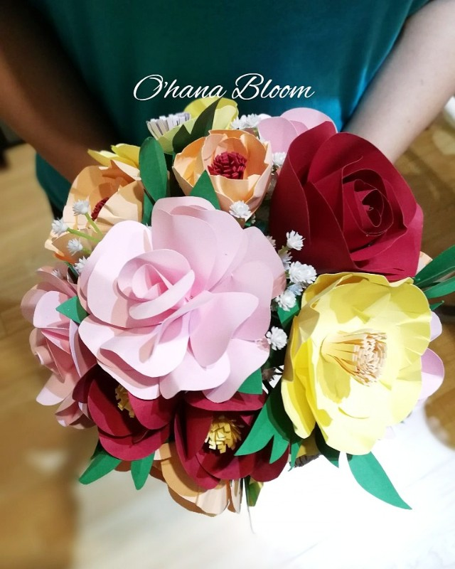 Paper Flower Hand Bridal Bouquet Malaysia