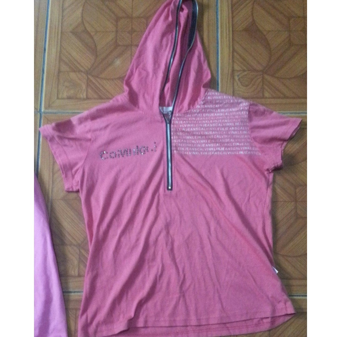 Pink Shirt with hoodie
