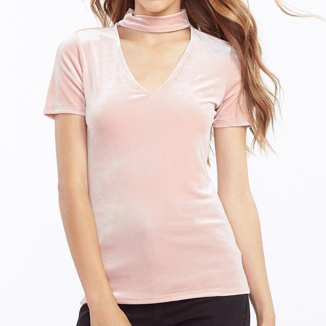 Pink velvety t shirt