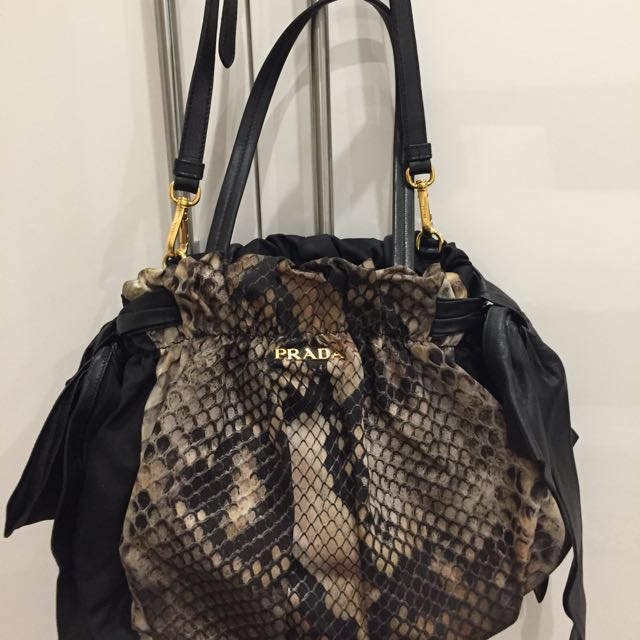 Prada snakeskin bow bag