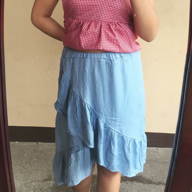 Pseudo Denim Skirt