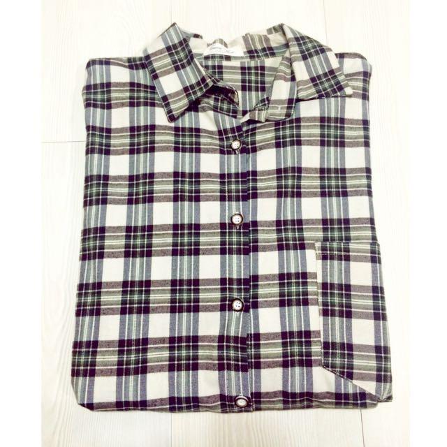 Queen Shop長寬版格子襯衫