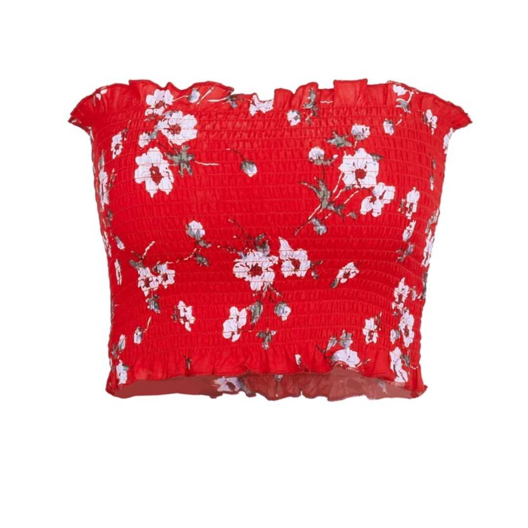 Red Floral Bandeau Shirred Top