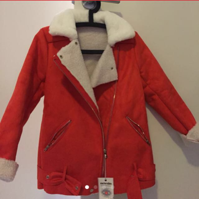 Red shearling jacket