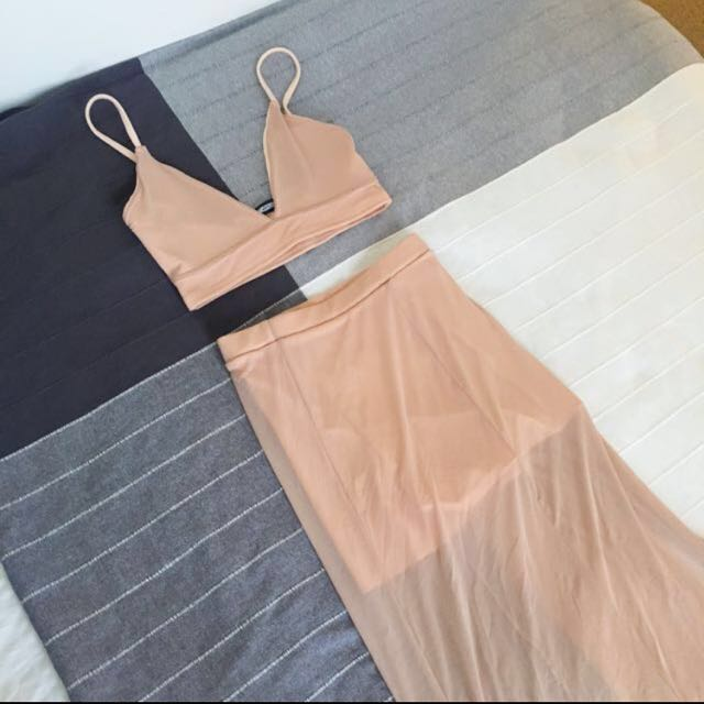 SEXY Nude Crop and Maxi Skirt