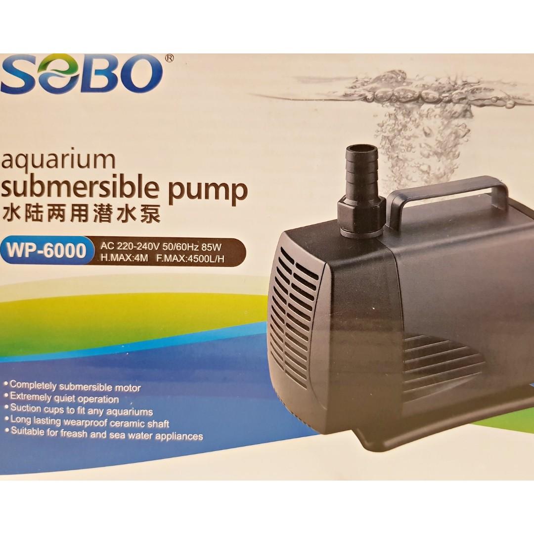Sobo Aquarium 85w Submersible Water Pump Wp 6000 Aquaponics Pet Lampu Uv Light Yang 15w Supplies Accessories On Carousell